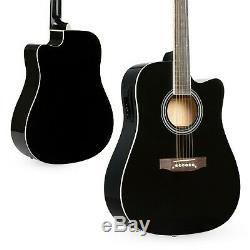 Bois Noir Plein Surface Acoustic Electric Cutaway Guitar Set 10 Watt Amp Bag Case
