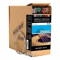 D'addario Ej16-b25 Phosphor Bronze Acoustic Guitar Strings, Light, 25 Bulk Sets