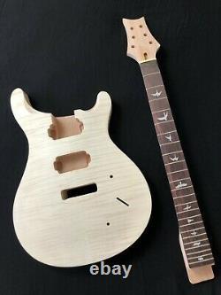 Diy 1set Guitare Body & Manche Electric Guitar Kit Pour Prs Style Inachevé