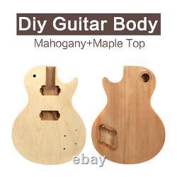 Diy Electric Guitar Body Mahogan Maple Top Guitar Project Unfinished Set In Heel