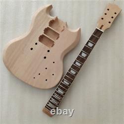 Diy Unfinished 1 Ensemble De Guitare Électrique Corps Et Cou Pour Kit De Guitare De Style Sg