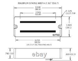 Emg Hz 7 Et Hz7a Black Passive 7 String Soapbar Guitar Pickup Set Pots - Câblage