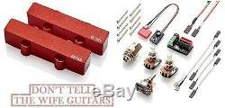 Emg J Set Red Active Jazz Bass Guitar Solderless Micros Avec Pots & Câblage