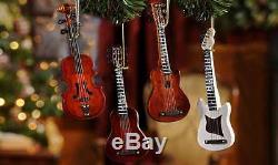 Ensemble De 4 6 Guitares En Bois Avec Cordes Ornements De Sapin De Noël Suspendus Nouveau
