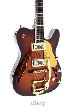F Hole Semi Hollow Body Tl Electric Guitar Gold Hardware Set In