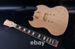 Guitar Kit Electric Guitar Neck Body Mahogany Set In Heel Handmade Unfinished