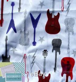 Guitares Électriques Graphic Blue Twin Comforter Sham Bedding Set Nouveau