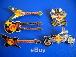 Hrc Hard Rock Cafe 5 Pin Set Stockholm Noir Tueuses 3 Guitars 2 Autres Nouveaux