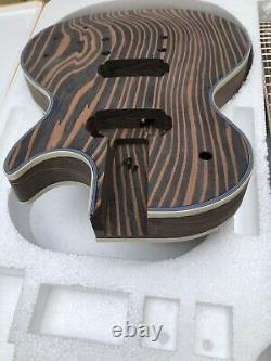 Inachevé 1 Ensemble En Bois Zèbre Col De Guitare Électrique Et Corps 22 Fret Guitare Kit