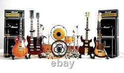 Led Zeppelin Miniature Guitars Et Drum Set E Avec Timpani, Gong, Amps & MIC