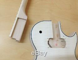 Lp Guitare Électrique Diy Kit, No-soudure, Set Manche En Érable, Matériel Noir 238diy Smb