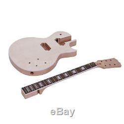 Lp Unfinished Bricolage Guitare Électrique Kit Corps Acajou 22 Frettes Manche 6 Cordes Set
