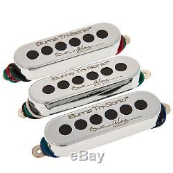 New Burns, London Brian May Tri-sonic Set 3 Micros Guitare Metal Chrome Couverture