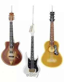 Nouveau Kurt Adler 5.5 Guitar Christmas Tree Ornements De 3 Rare Très Détaillée