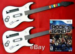 Nouveau Nintendo Wii-u / Wii Rock Band 3 Jeu Vidéo 2 Sans Fil Set Kit Guitares Bundle