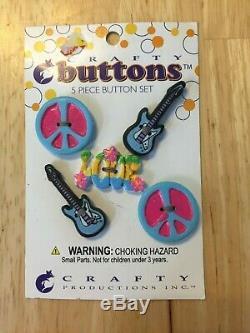 Nouveau Signe De Paix D'amour Guitars Décoratif Button Crafty Ensemble De 5 Pièces Hippie Pni
