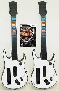 Nouveau Wii Warriors Of Rock Game + 2 Wireless Guitars Hero Set Bundle Kit Nintendo