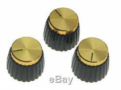 Nouvelle Série De 3 Amp Style Boutons Pour Amplificateurs + Guitare Marshall Style Or / Noir