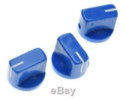 Nouvelle Série De 3 Amp Style Pointeur Boutons Pour Les Amplis, Pédales + Guitare Bleu