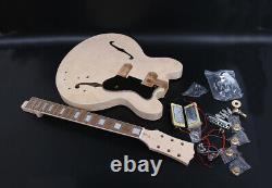 One Set Semi-hollow Electric Guitar Body+neck Rosewood Fretboard Inachevé