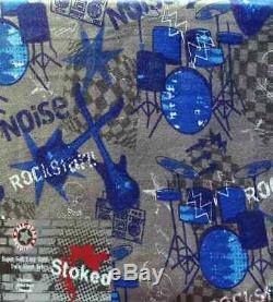 Rockstar Rock And Roll Bruit Bleu Gris 3pc Feuilles Jumeaux Literie Nouveau