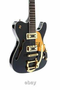 Semi Hollow Body Tl Electric Guitar Gold Hardware Set In Joint Black Color