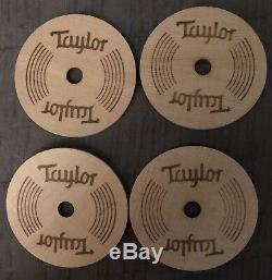 Taylor Guitars Coasters Set (4) Trous Pour Guitare Acoustique En Bois! Nouveau