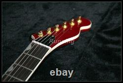Tl Electric Guitar F Hole Semi Hollow Body Gold Hardware Set In Joint Red Color